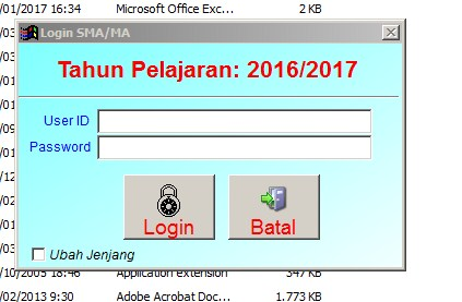 Login Aplikasi Bio Data UN 2017